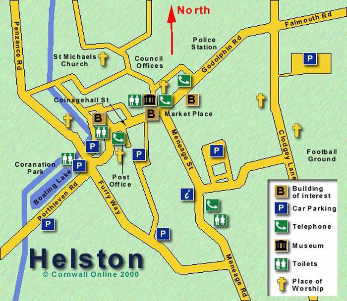Helston Map © Richards and Frost Cornwall Online